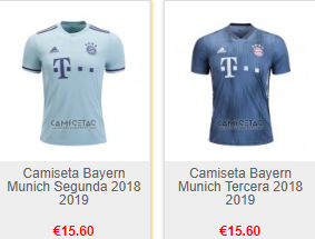 Replica camiseta de futbol bayern munich baratas 2018 2019