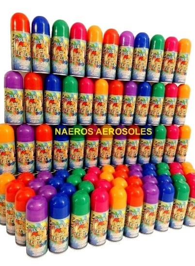 Serpentinas en aerosol caja x24 cotillon colores surtidos no inflamables