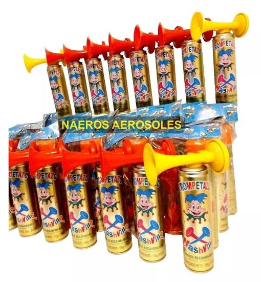 Trompetas cornetas combo x6 unidades cotillon bocina en aerosol
